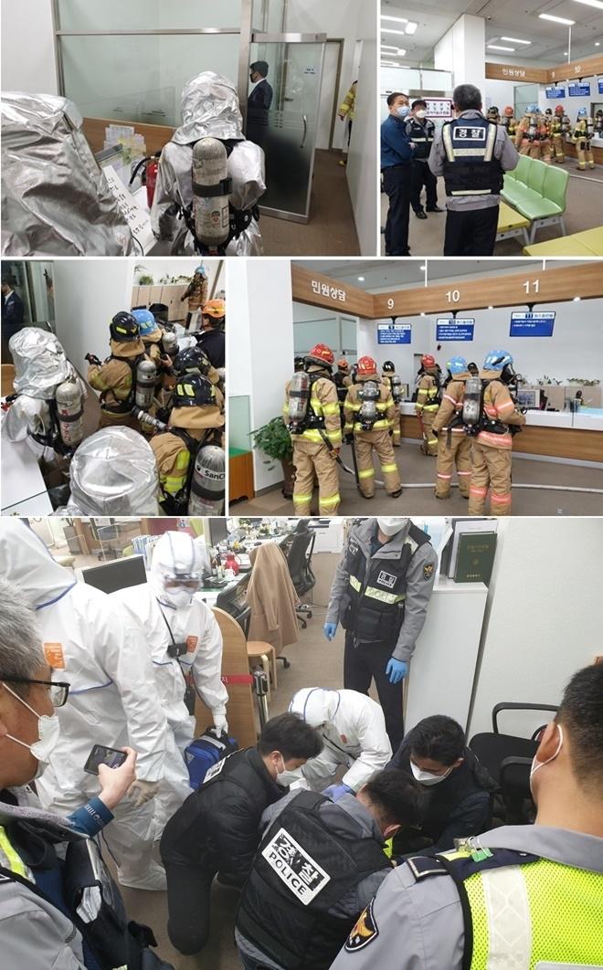 부산시청 2층 민원실에 시너통 든 60 남성과 경찰·소방 대치하다 검거
